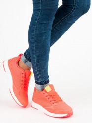Dizajnové dámske  tenisky oranžové bez podpätku #1