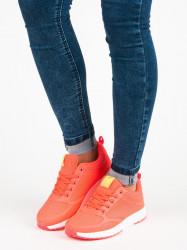 Dizajnové dámske  tenisky oranžové bez podpätku #4