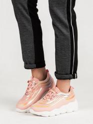 Dizajnové dámske  tenisky ružové bez podpätku