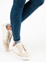 Dizajnové  tenisky dámske hnedé bez podpätku