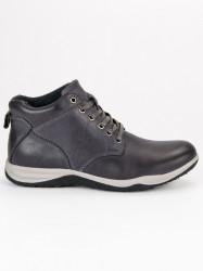 Dokonalé šedé pánske kožené členkové topánky