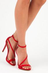 Elegantné červené sandále s pásikom cez priehlavok