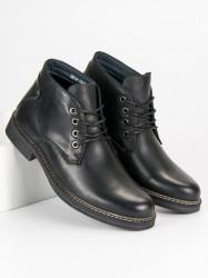 Elegantné čierne pánske kožené topánky