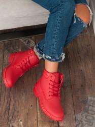 Exkluzívne červené  členkové topánky dámske na plochom podpätku