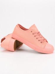 Exkluzívne ružové  tenisky dámske bez podpätku #1