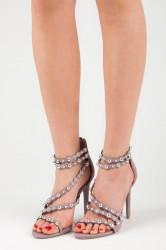 Fialové páskové sandále zdobené cvočkami