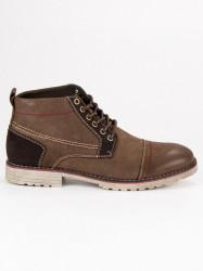 Hnedé pánske kožené topánky s viazaním