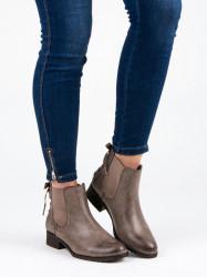 Jedinečné   Členkové topánky dámske na plochom podpätku