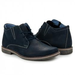 Jedinečné modré pánske členkové topánky na šnurovanie