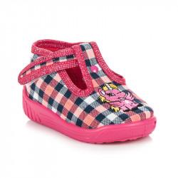 Kárované ružové dievčenské papučky s jednorožcom