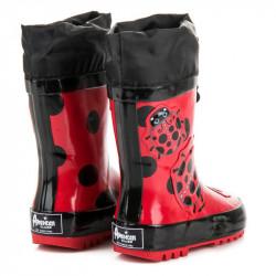 Komfortné červené detské  gumáky bez podpätku #3