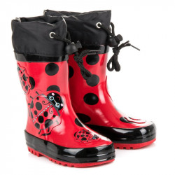 Komfortné červené detské  gumáky bez podpätku #4
