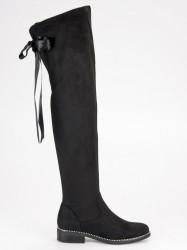 Komfortné  čižmy dámske čierne na plochom podpätku #1