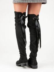 Komfortné  čižmy dámske čierne na plochom podpätku #2