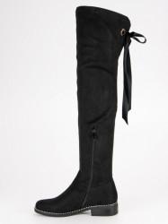 Komfortné  čižmy dámske čierne na plochom podpätku #3