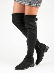 Komfortné  čižmy dámske čierne na plochom podpätku #4