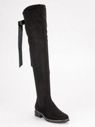 Komfortné  čižmy dámske čierne na plochom podpätku #5