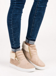 Komfortné dámske  Členkové topánky hnedé bez podpätku