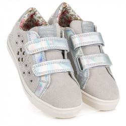Komfortné detské  tenisky a športové topánky strieborné bez podpätku