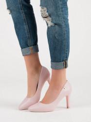 Komfortné  lodičky dámske ružové na ihlovom podpätku