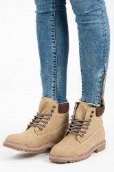 Krásne  členkové topánky hnedé dámske bez podpätku