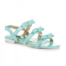 Lakované modré sandále s mašličkami