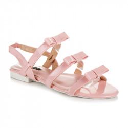 Lakované ružové sandále s mašličkami