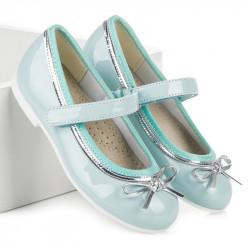 Lesklé modré dievčenské baleríny s mašličkou