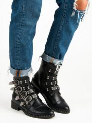 Luxusné čierne členkové topánky s prackami