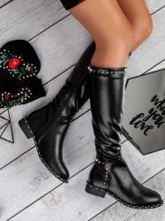 Luxusné   čierne dámske na plochom podpätku