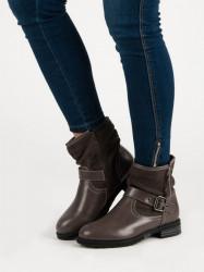 Luxusné dámske hnedé  Členkové topánky na plochom podpätku