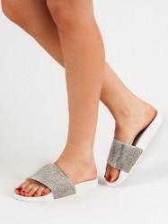 Moderné dámske  šľapky biele bez podpätku