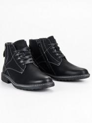 Módne čierne pánske členkové topánky