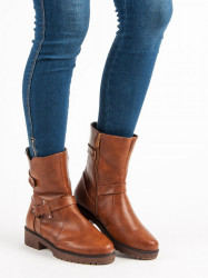 Módne  Členkové topánky hnedé dámske na plochom podpätku