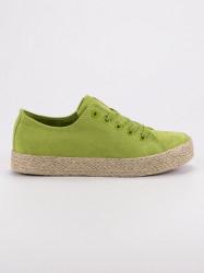 Módne zelené  tenisky dámske bez podpätku #1