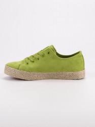Módne zelené  tenisky dámske bez podpätku #3