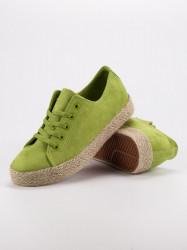 Módne zelené  tenisky dámske bez podpätku #4