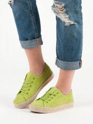 Módne zelené  tenisky dámske bez podpätku #5