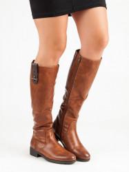 Originálne  čižmy dámske hnedé na plochom podpätku