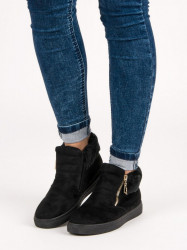 Originálne  Členkové topánky čierne dámske bez podpätku
