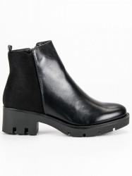 Originálne  členkové topánky čierne dámske na širokom podpätku