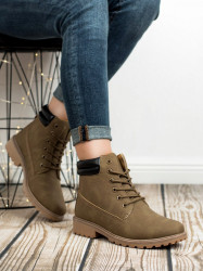 Originálne  členkové topánky zelené dámske na plochom podpätku