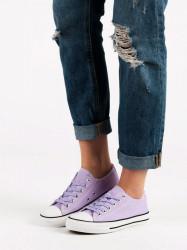 Originálne dámske  tenisky fialové bez podpätku