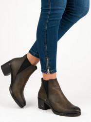 Originálne olivové členkové topánky na podpätku