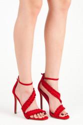 Originálne riešené červené sandále na ihličkovom