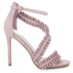Originálne riešené fialové sandále na ihličkovom podpätku