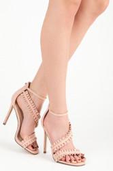Originálne riešené ružové sandále na ihličkovom podpätku