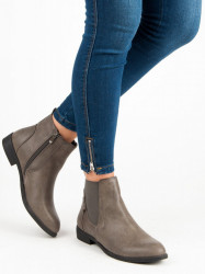 Originálne strieborné  členkové topánky dámske na plochom podpätku