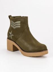 Originálne zelené dámske  Členkové topánky na širokom podpätku