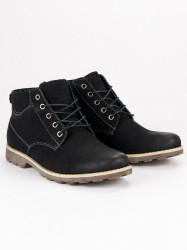 Pánske čierne kožené členkové topánky